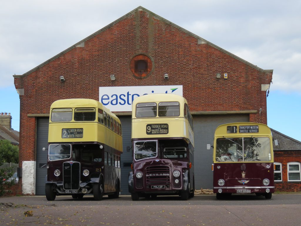 The busses in front of the old Lowestoft Corporation Depot which is now Eastpoint