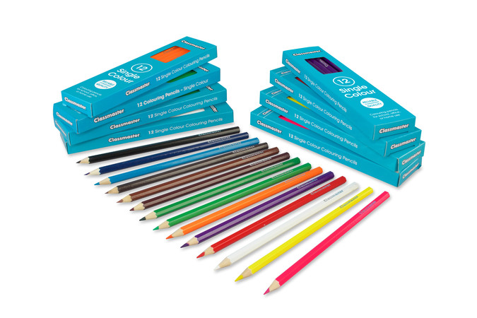 Classmaster Colouring Pencils showing in the variety of colours that are available, including violet, pink, yellow, orange, green and more